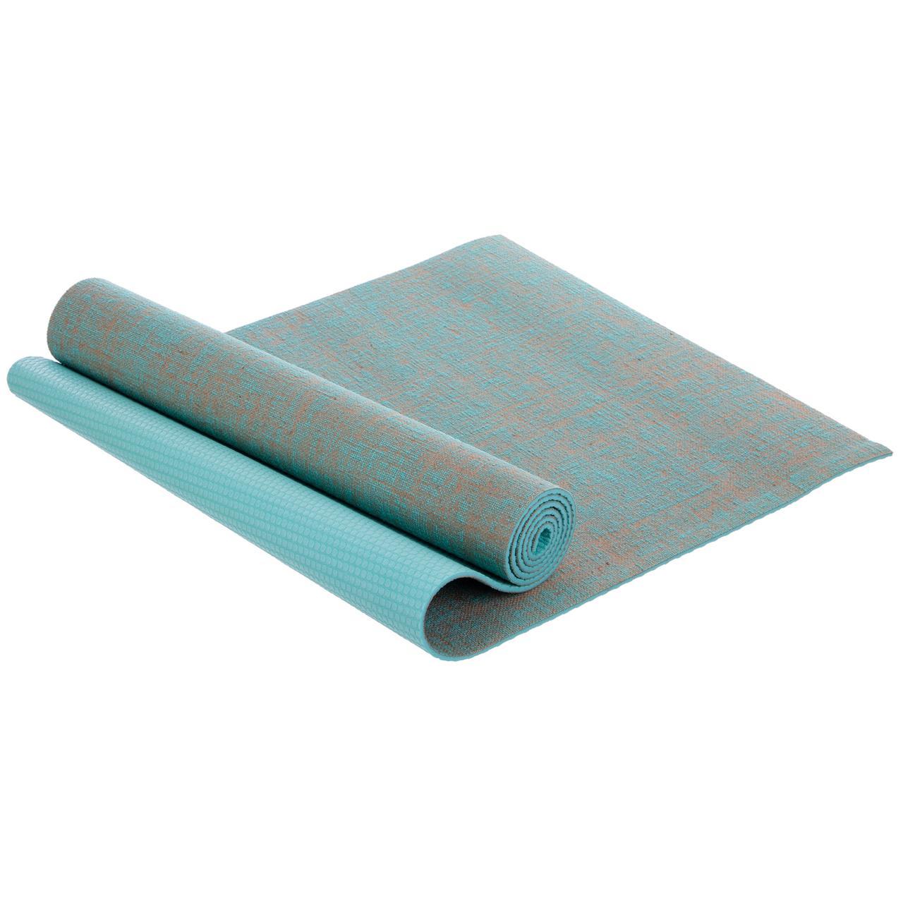 Коврик для йоги для фитнеса ZELART Джутовый Для тренировок 185 х 62 х 0,6 см Бирюзовый (FI-2441)