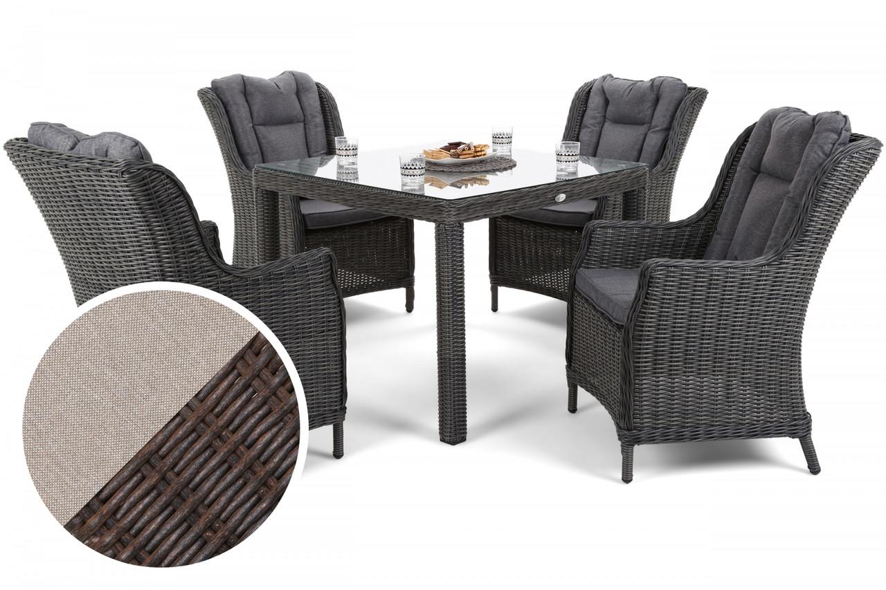Комплект мебели из техноротанга Bristol Square Brown Mat 4 + 1