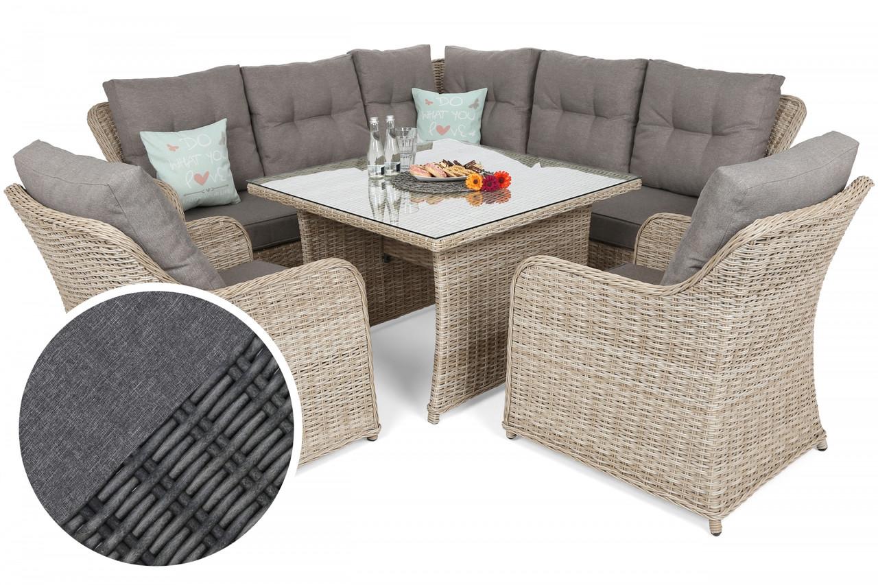 Комплект угловой мебели из техноротанга Bergamo Grey