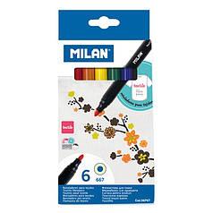 """06P6T Набор фломастеров для ткани ТМ """"MILAN"""" 6цв. D4mm"""