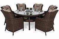Комплект меблів з техноротангу Bristol Round Elegant 150 cm Brown Mat 6+1, фото 1