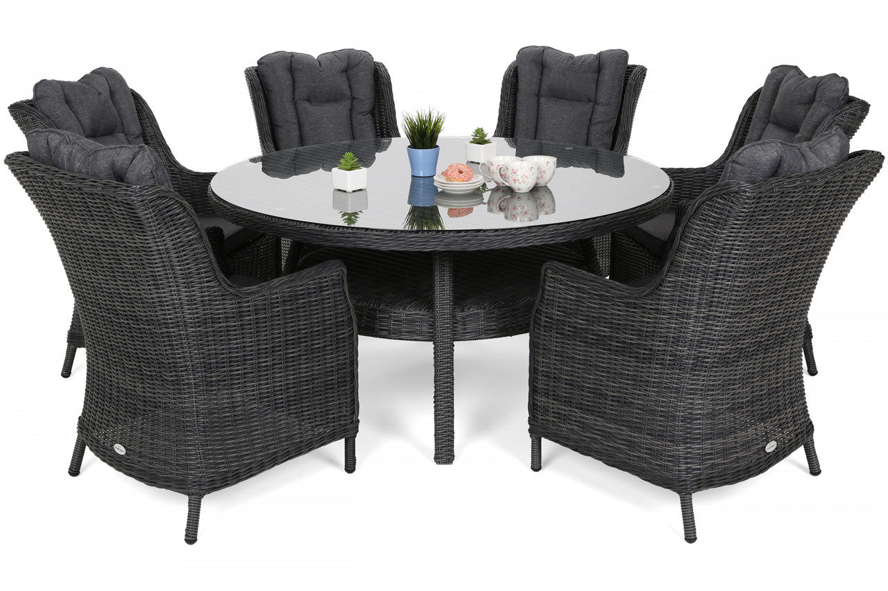 Комплект меблів з техноротангу Bristol Round Elegant 150 cm Grey 6+1