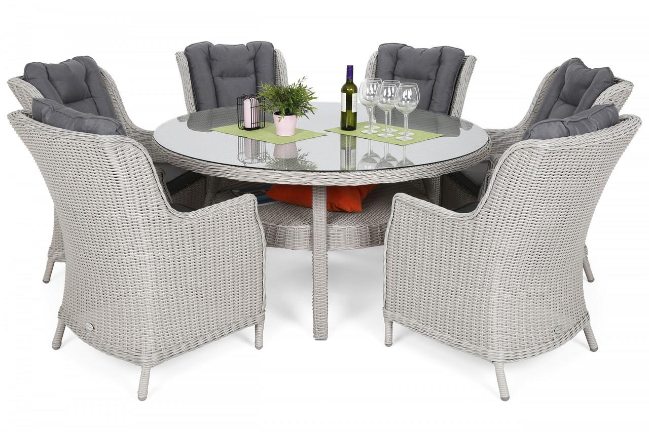 Комплект мебели из техноротанга Bristol Round Elegant 150 cm White 6+1