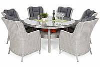 Комплект мебели из техноротанга Bristol Round Elegant 150 cm White 6+1, фото 1