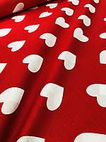 Бязь Gold Сердечка на червоному  220 см