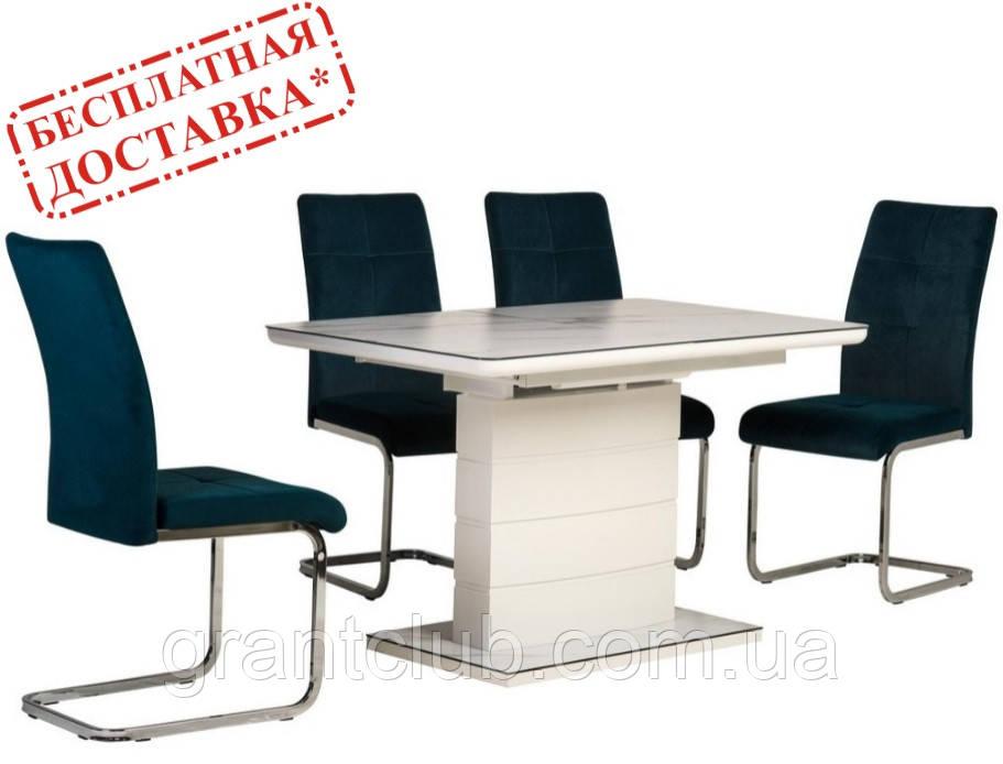 Стол TM-49 белый кварц матовое стекло 120/160х80 (бесплатная доставка)