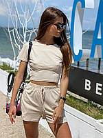 Стильний костюм на літо: топ + шорти, розміри: s, m, є заміри!!!