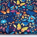"""Клапоть тканини """"Різнокольорові метелики і квіти"""" на темно-синьому тлі, №3374а, розмір 37*80 см, фото 2"""