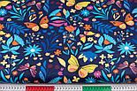 """Клапоть тканини """"Різнокольорові метелики і квіти"""" на темно-синьому тлі, №3374а, розмір 37*80 см, фото 3"""