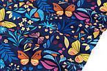 """Клапоть тканини """"Різнокольорові метелики і квіти"""" на темно-синьому тлі, №3374а, розмір 37*80 см, фото 5"""