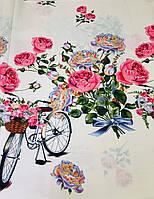 Тканина Бязь Gold Велосипед з квітами 220 см