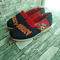 Сліпони кросівки кеди для хлопчика текстильні з малюнком сині з червоним Active розміри 31,32,33, 34,35