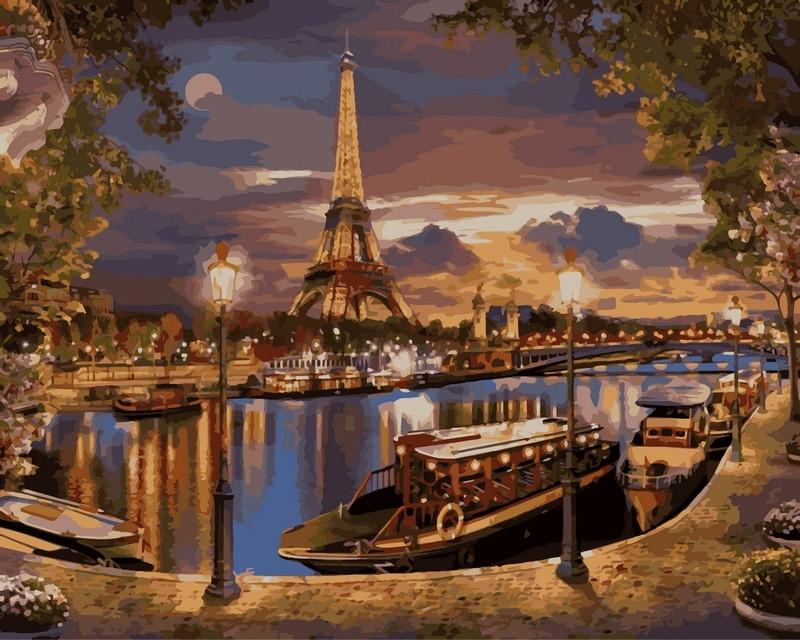 Рисование по номерам 40×50 см. Париж Вечер