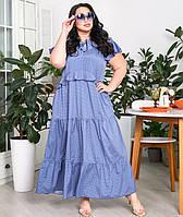 Длинное платье А-силуэта в горошек для полных женщин, фото 1