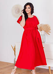 Летнее платье с коротким рукавом в больших размерах свободного фасона под пояс (р. 50-60) 11532