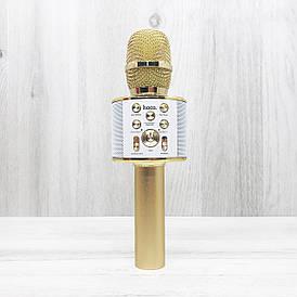 Портативный беспроводной блютуз микрофон Hoco BK3 (золотой)