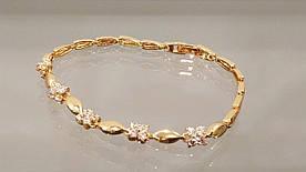 Браслет позолочений жіночий з кристалами код 1717