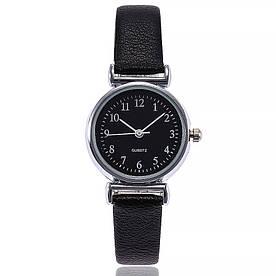 Жіночі наручні годинники з чорним ремінцем код 536 Уцінка