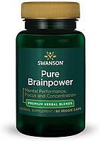 Растительный экстракт Свансон мозговая сила для работоспособности США Swanson Pure Brainpower USA 60 капсул