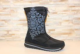 Чоботи жіночі дутики чорні зимові С793