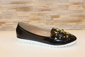 Туфли балетки женские черные лаковые Т070