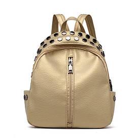 Рюкзак золотистий жіночий з заклепками код 3-268