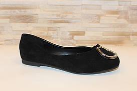 Балетки туфли женские черные замшевые Т1237