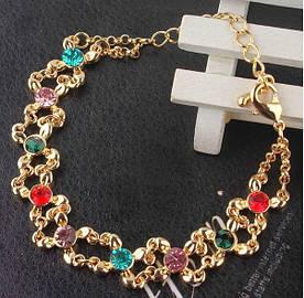 Позолочений браслет з кристалами код 667