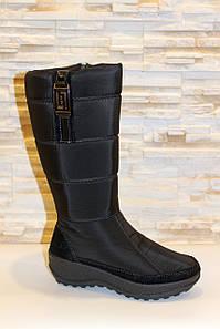 Чоботи жіночі зимові дутіки чорні високі С626
