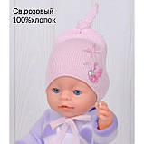 Шапочка для младенца девочки, Светло розовый, 40, фото 2