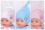 Шапочка для младенца девочки, Светло розовый, 40, фото 9