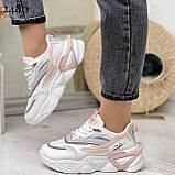 Стильные кроссовки женские белые с серым /розовым эко-кожа+ текстиль, фото 2