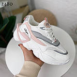 Стильные кроссовки женские белые с серым /розовым эко-кожа+ текстиль, фото 3