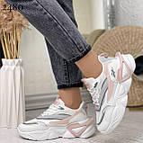 Стильные кроссовки женские белые с серым /розовым эко-кожа+ текстиль, фото 4
