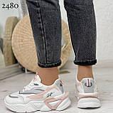Стильные кроссовки женские белые с серым /розовым эко-кожа+ текстиль, фото 6