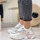 Стильные кроссовки женские белые с серым /розовым эко-кожа+ текстиль, фото 5