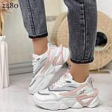 Стильные кроссовки женские белые с серым /розовым эко-кожа+ текстиль, фото 8