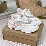 Стильные кроссовки женские белые с серым /розовым эко-кожа+ текстиль, фото 7