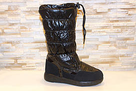 Чоботи зимові жіночі чорні дутики С803