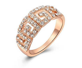 Позолоченное женское кольцо с кристаллами код 688