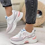 Жіночі кросівки білі з сірими/ рожевим еко-замша+ шкіра+ текстиль, фото 3