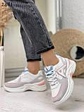 Жіночі кросівки білі з сірими/ рожевим еко-замша+ шкіра+ текстиль, фото 2