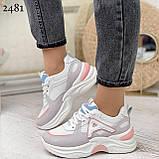 Жіночі кросівки білі з сірими/ рожевим еко-замша+ шкіра+ текстиль, фото 4
