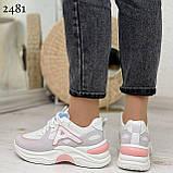 Жіночі кросівки білі з сірими/ рожевим еко-замша+ шкіра+ текстиль, фото 6
