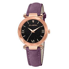 Жіночі наручні годинники з фіолетовим ремінцем код 532