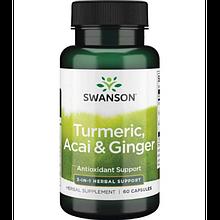 Свансон Куркума асаи и имбирь антиоксидантная активность США Swanson TURMERIC ACAI GINGER  3-IN-1 USA 60 капс