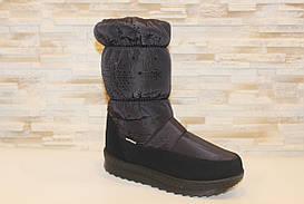 Чоботи дутики жіночі чорні Сніжинка С801