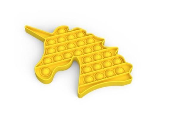 Сенсорная игрушка Pop It Push Bubble Fidget Antistress Бесконечная Пупырка Единорог желтый, ширина 12,5см
