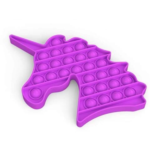 Сенсорная игрушка Pop It Push Bubble Fidget Antistress Бесконечная Пупырка Единорог фиолетовый, ширина 12,5см