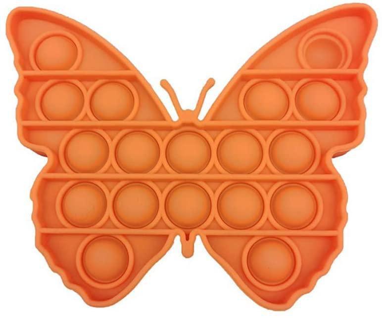 Сенсорная игрушка Pop It Push Bubble Fidget Antistress Бесконечная Пупырка Бабочка оранжевая, ширина 12,5см